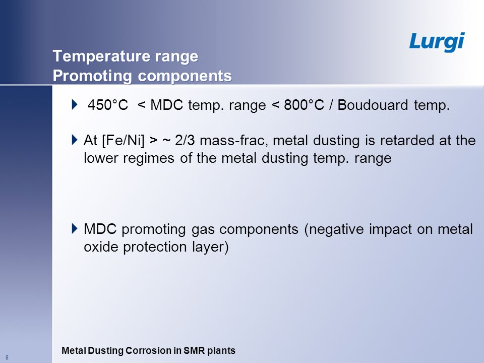 Temperature range Promoting components