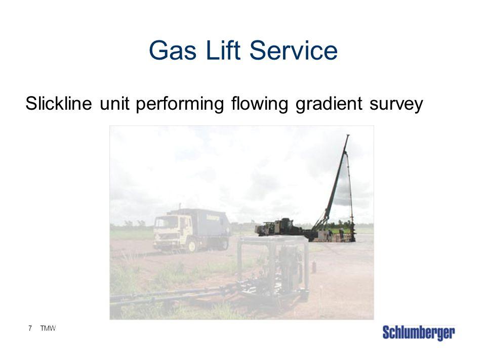 Gas Lift Service Slickline unit performing flowing gradient survey