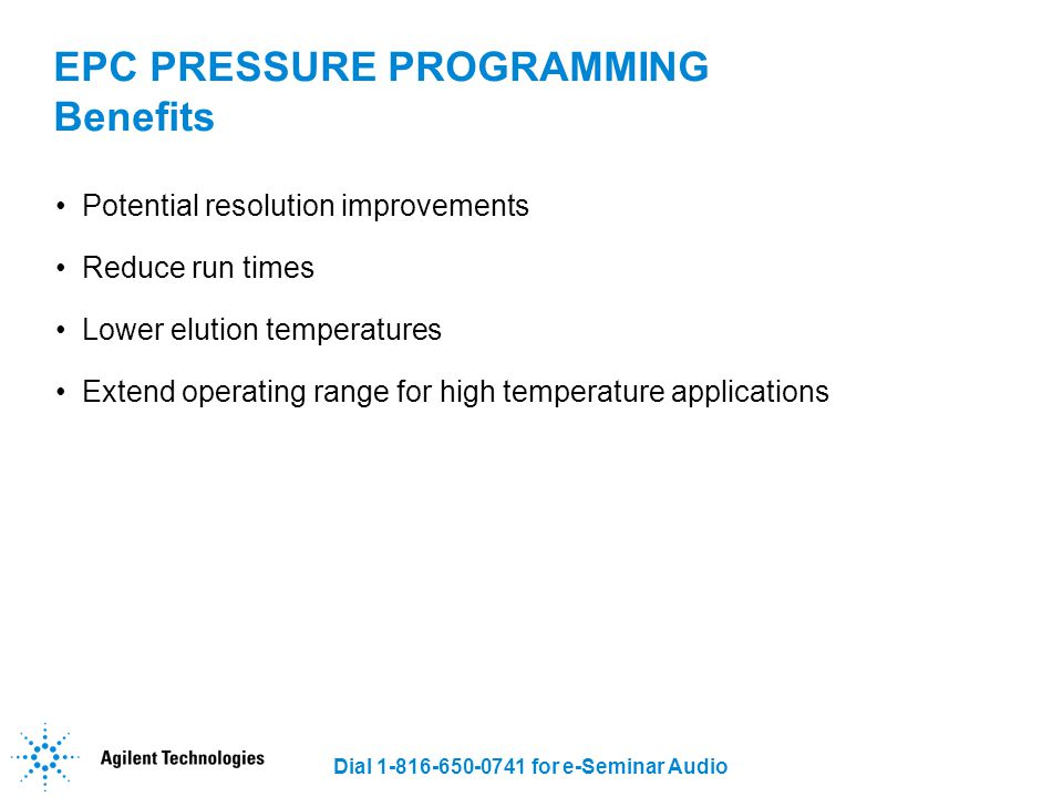EPC PRESSURE PROGRAMMING Benefits