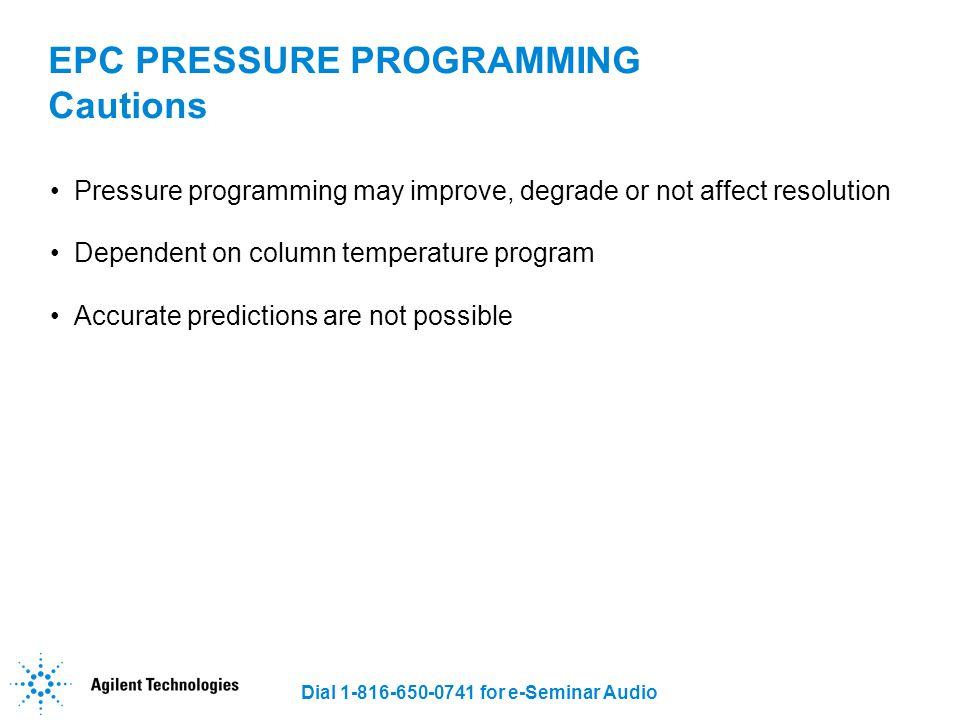 EPC PRESSURE PROGRAMMING Cautions