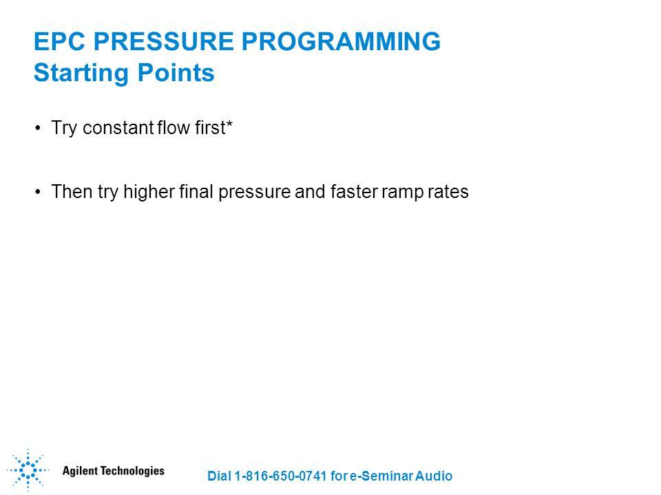 EPC PRESSURE PROGRAMMING Starting Points