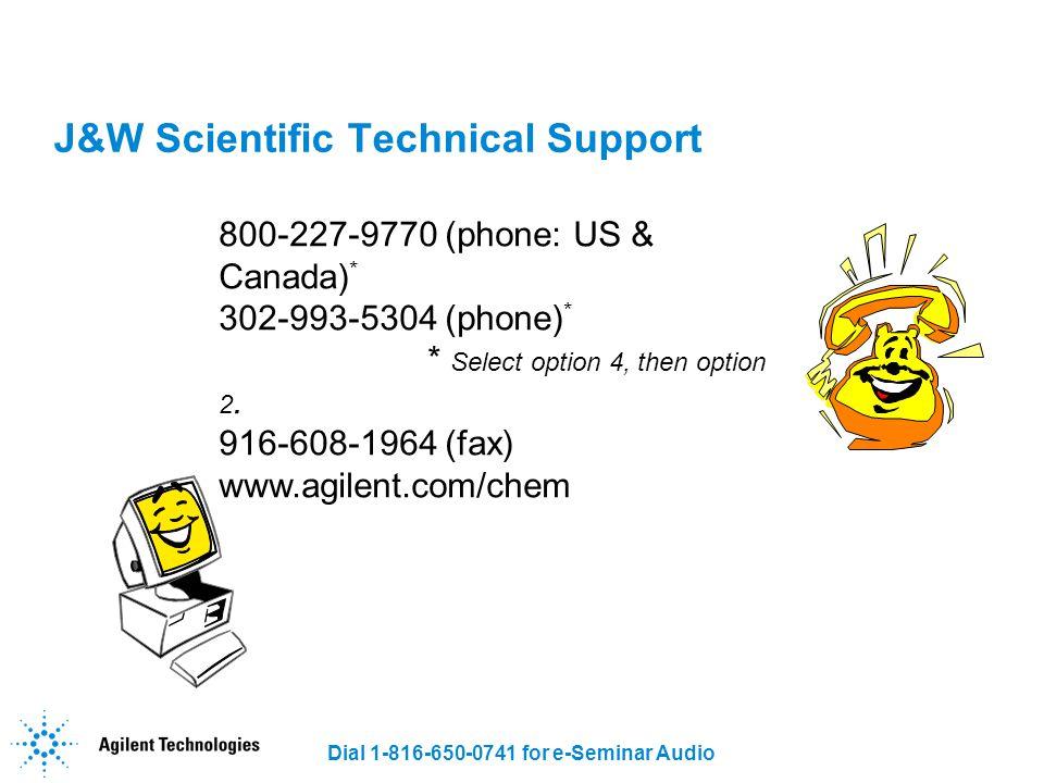 J&W Scientific Technical Support