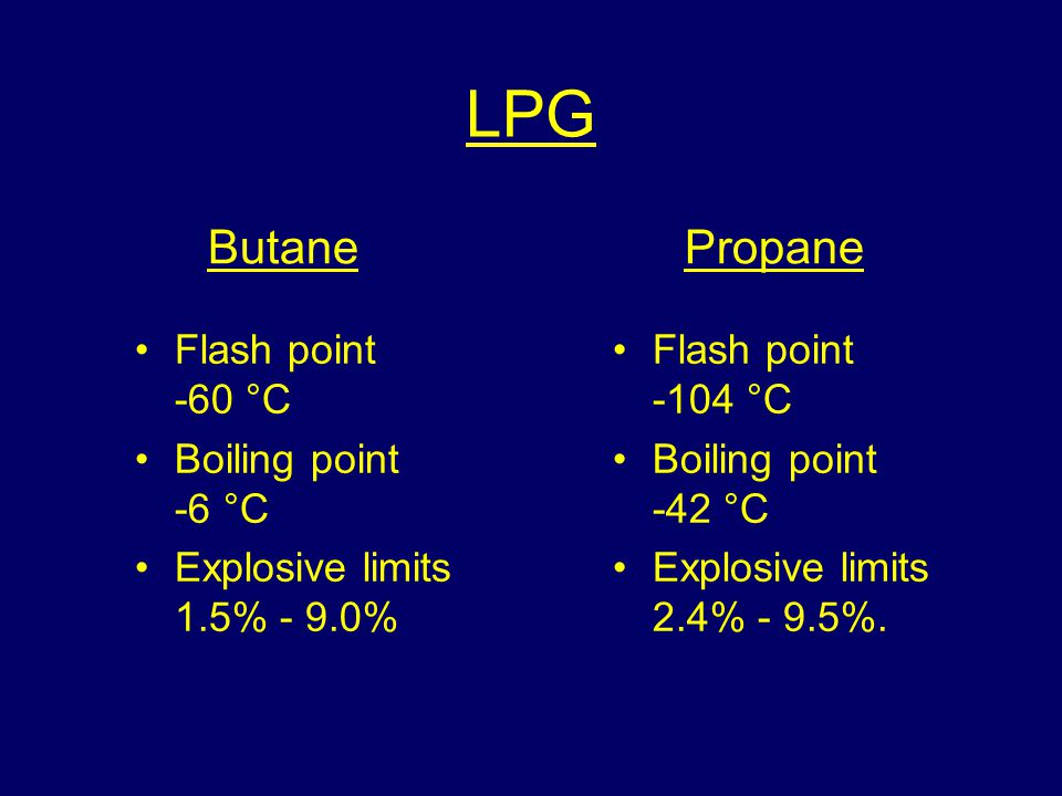 LPG Butane Propane Flash point -60 °C Boiling point -6 °C