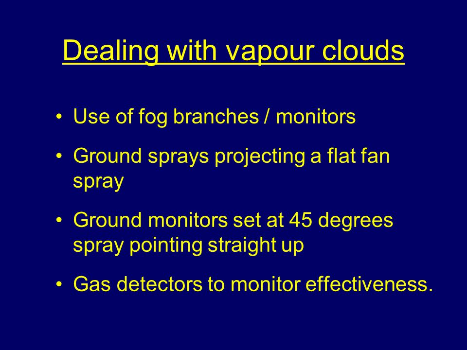 Dealing with vapour clouds