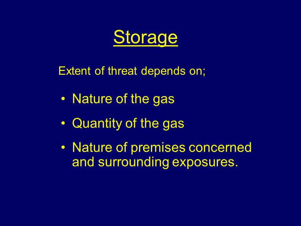 Storage Nature of the gas Quantity of the gas