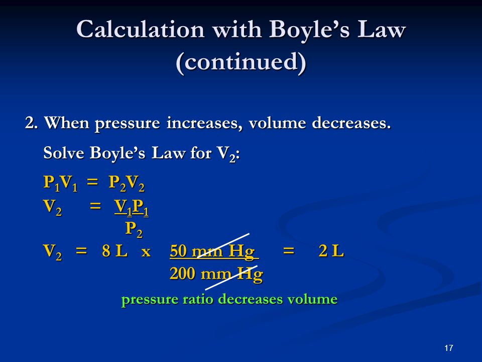 Calculation with Boyle's Law (continued)