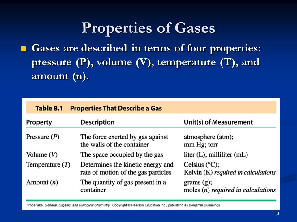 Properties of Gases Gases are described in terms of four properties: pressure (P), volume (V), temperature (T), and amount (n).