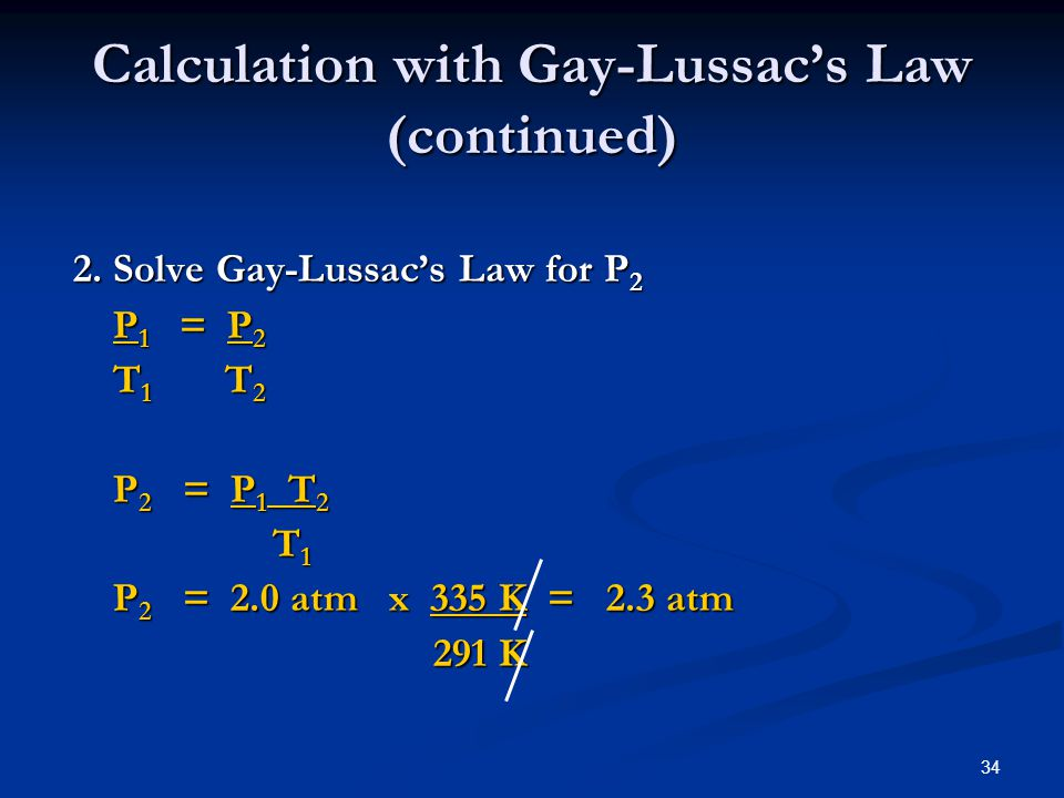 Calculation with Gay-Lussac's Law (continued)