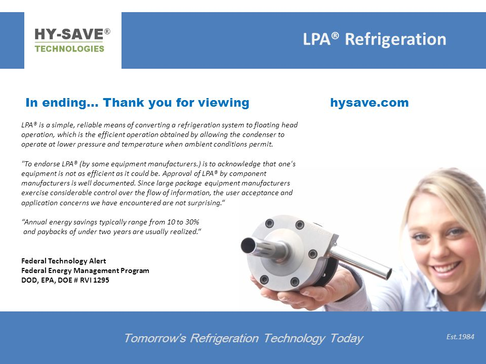 LPA® Refrigeration In ending… Thank you for viewing hysave.com