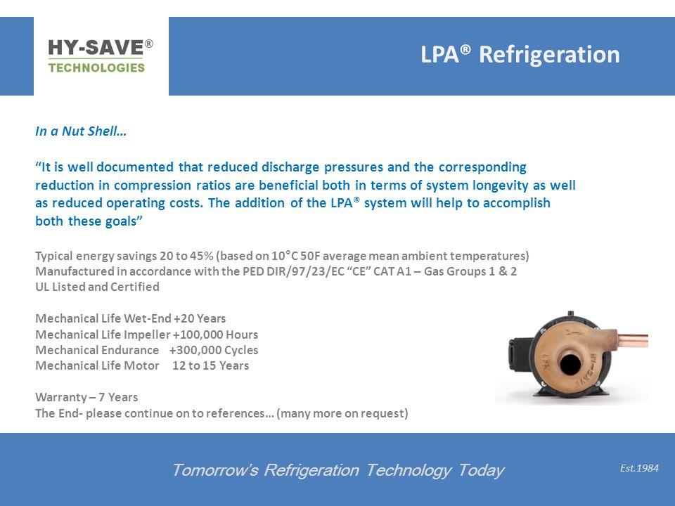 LPA® Refrigeration Tomorrow's Refrigeration Technology Today