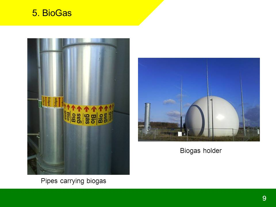5. BioGas Biogas holder Pipes carrying biogas 9