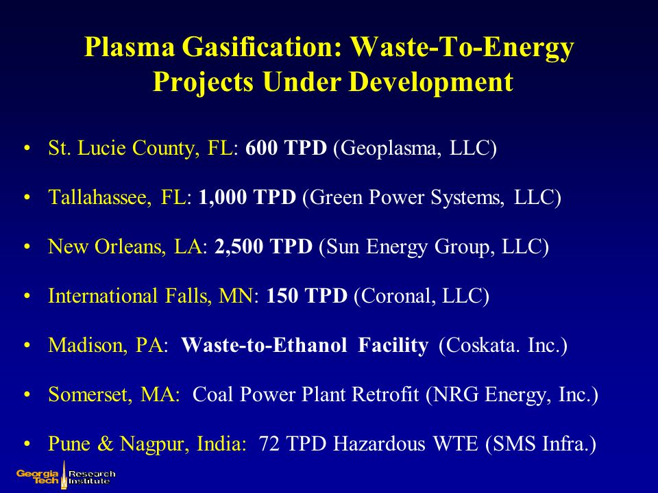 Plasma Gasification: Waste-To-Energy Projects Under Development