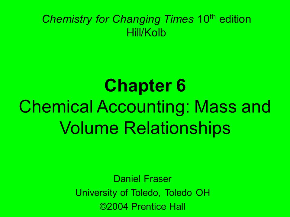 Chemical Accounting: Mass and Volume Relationships