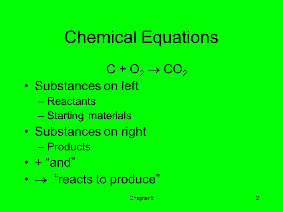 Chemical Equations C + O2  CO2 Substances on left Substances on right