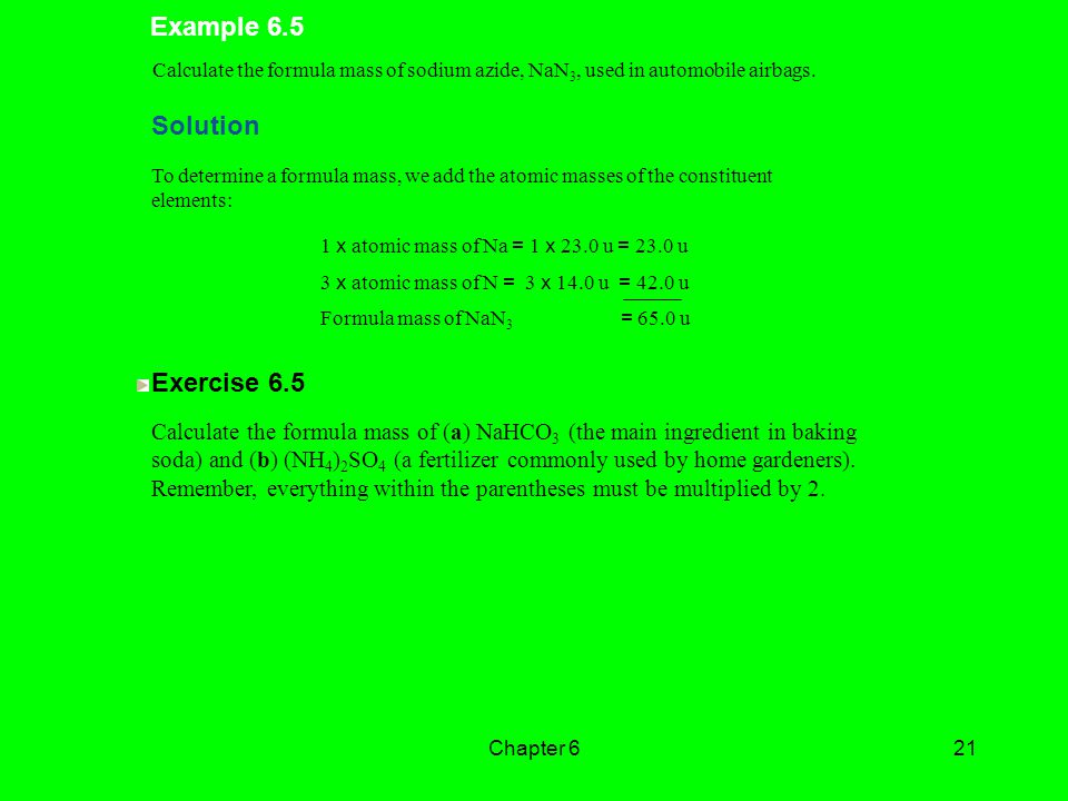Example 6.5 Solution Exercise 6.5