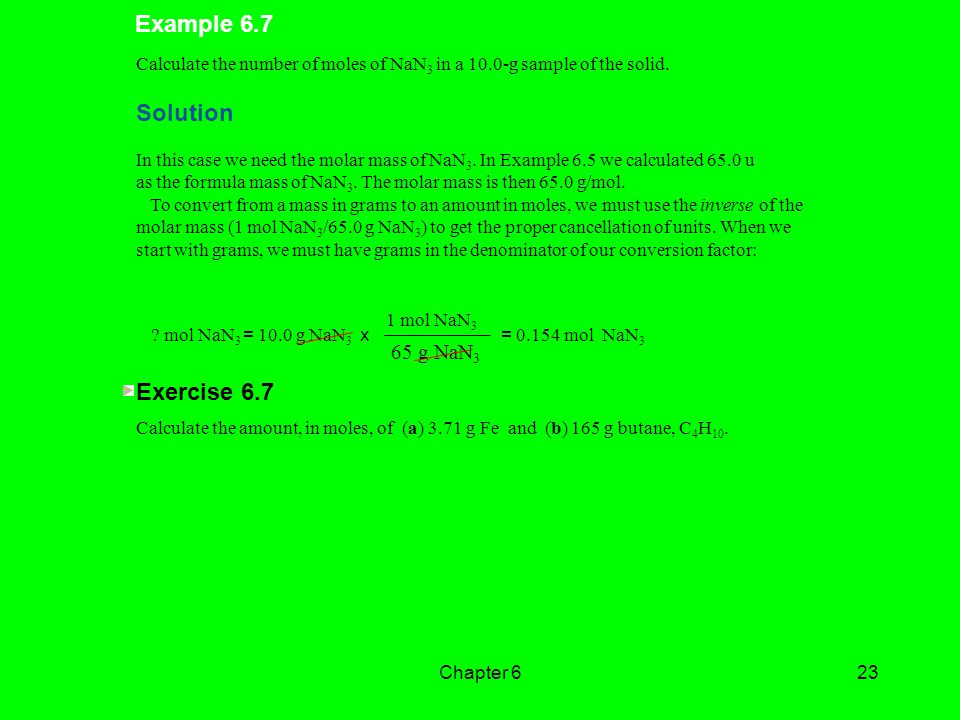 Example 6.7 Solution Exercise g NaN3