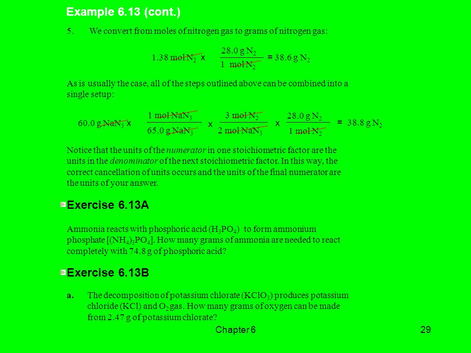 Example 6.13 (cont.) Exercise 6.13A Exercise 6.13B