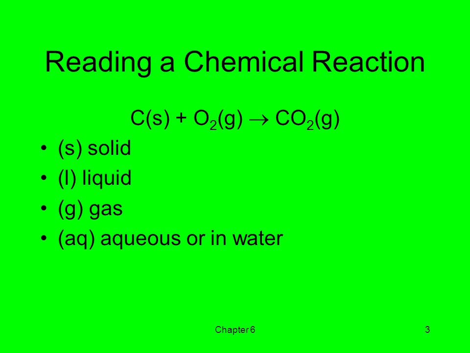Reading a Chemical Reaction