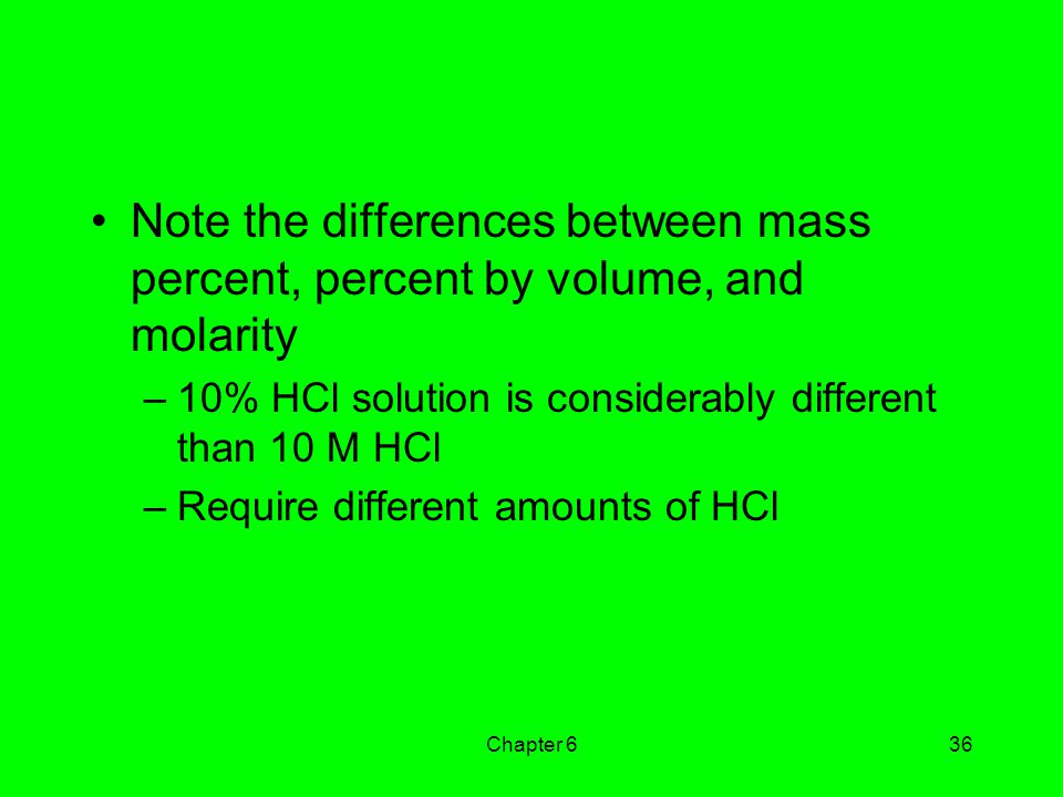 Note the differences between mass percent, percent by volume, and molarity