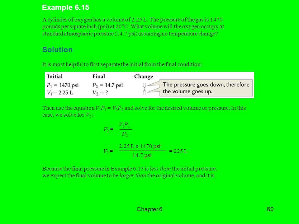 Example 6.15 A cylinder of oxygen has a volume of 2.25 L. The pressure of the gas is 1470.