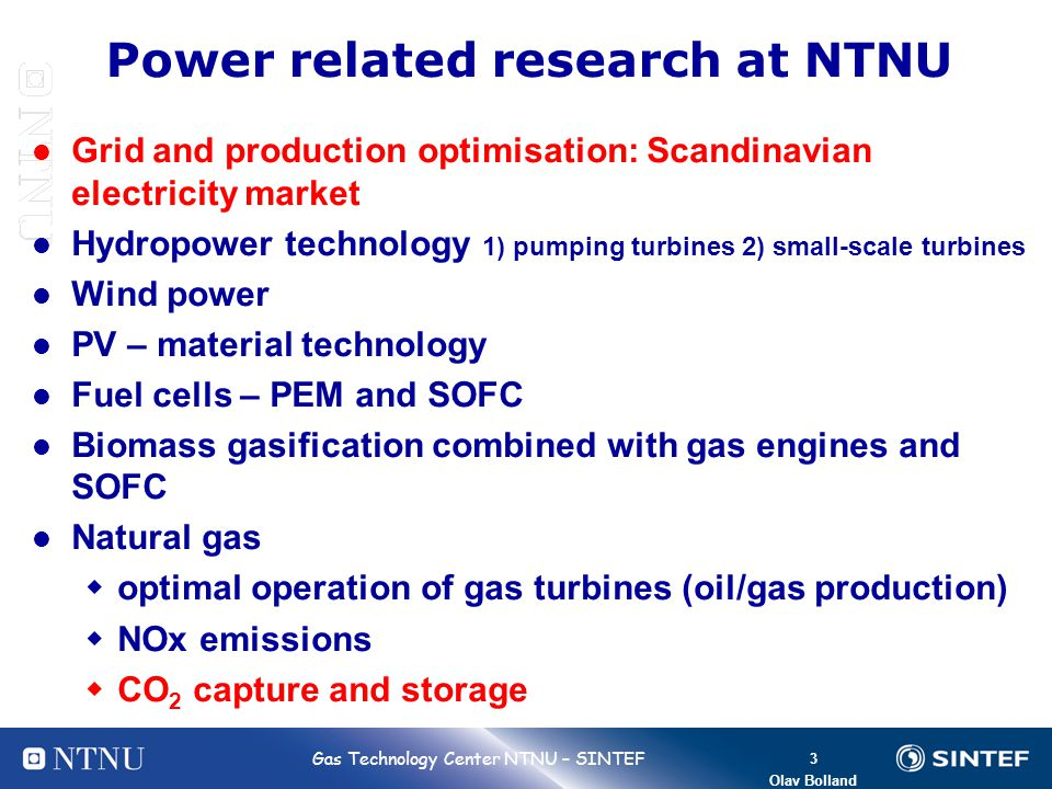 Power related research at NTNU