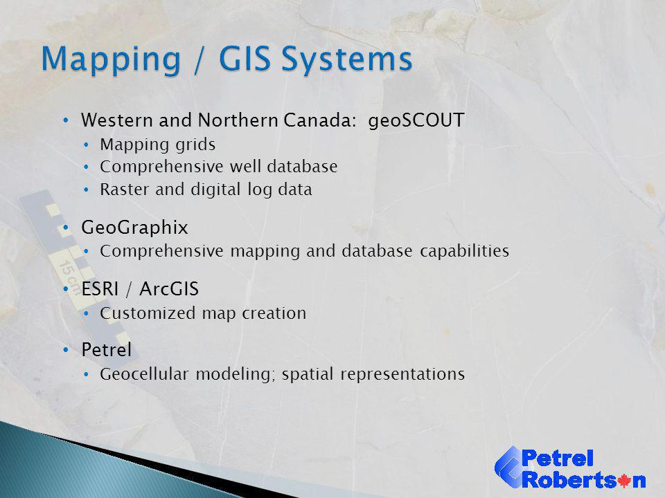 Mapping / GIS Systems Western and Northern Canada: geoSCOUT GeoGraphix