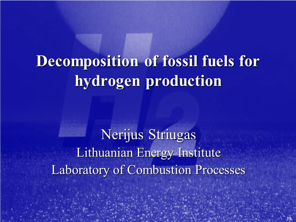Decomposition of fossil fuels for hydrogen production