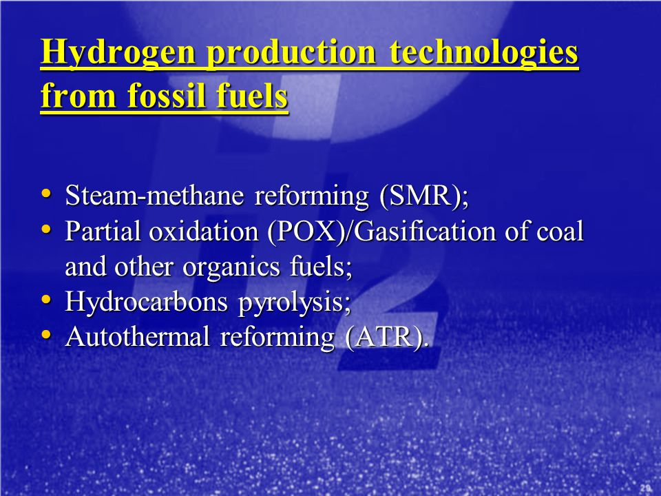 Hydrogen production technologies from fossil fuels