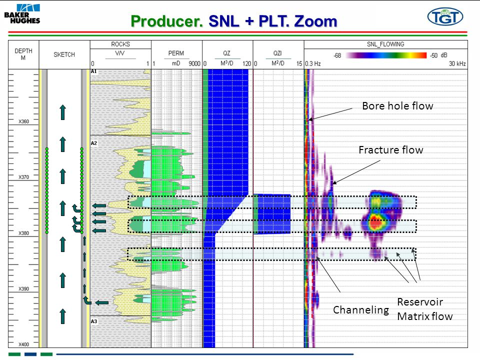 Producer. SNL + PLT. Zoom Bore hole flow Fracture flow Reservoir
