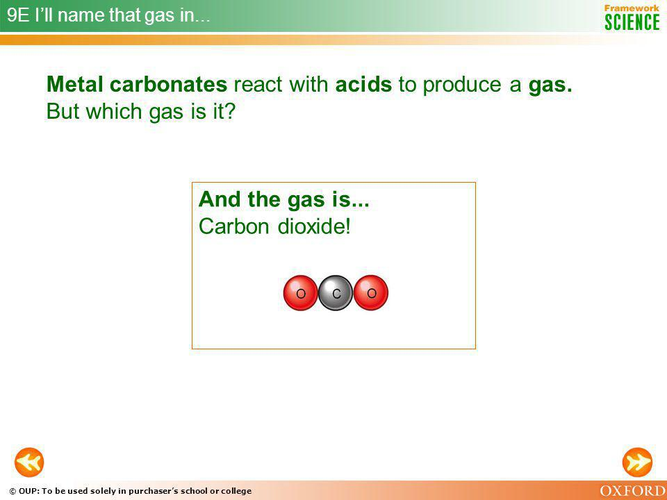 And the gas is... Carbon dioxide! CLUE 3 The gas is not hydrogen.