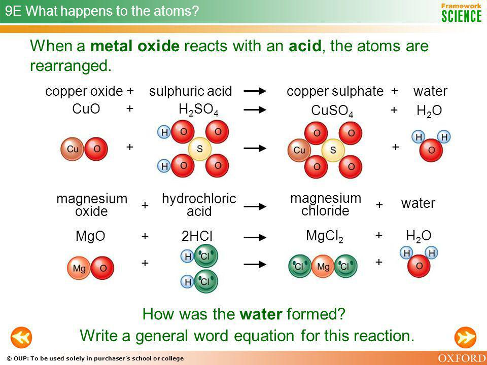 When a metal oxide reacts with an acid, the atoms are rearranged.
