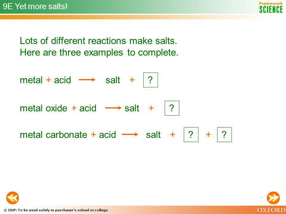 9E Yet more salts! Lots of different reactions make salts. Here are three examples to complete. metal + acid.
