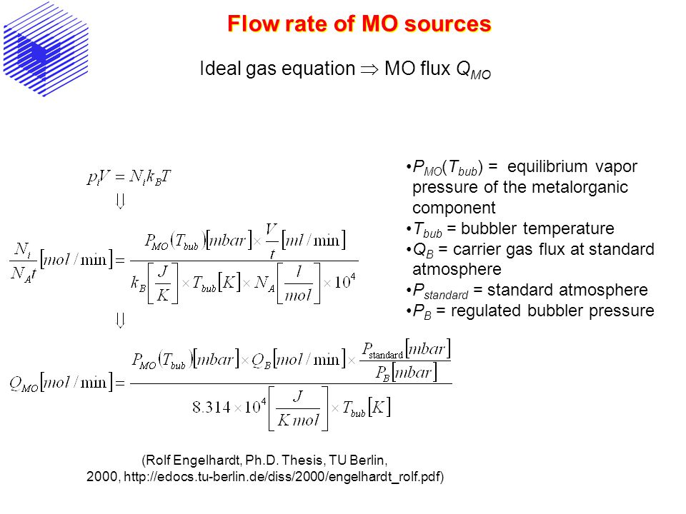 Flow rate of MO sources Ideal gas equation  MO flux QMO