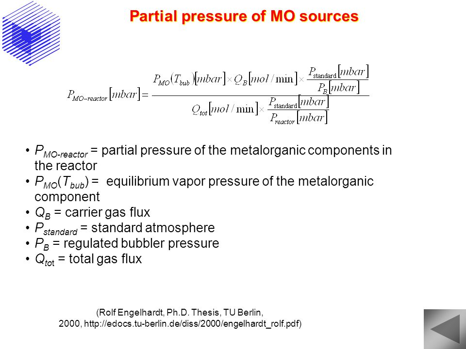 Partial pressure of MO sources