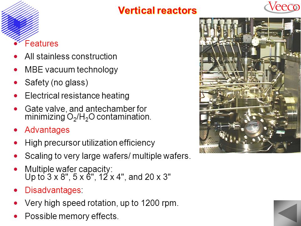 Vertical reactors Features All stainless construction
