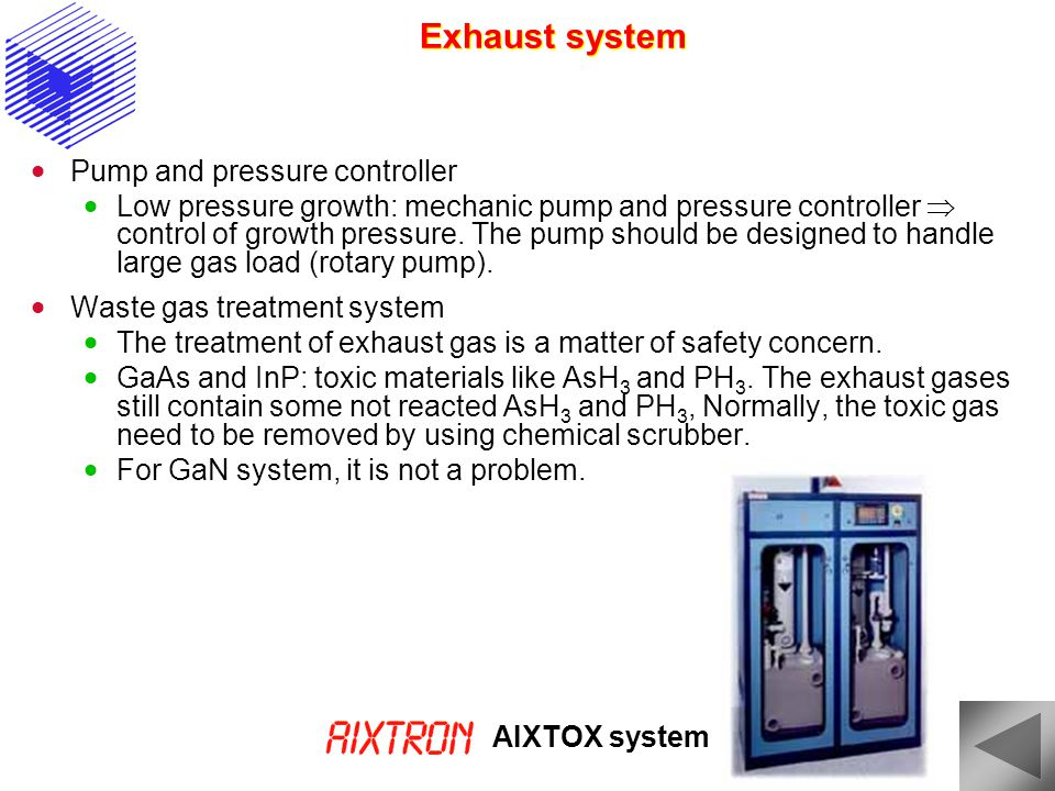 Exhaust system Pump and pressure controller