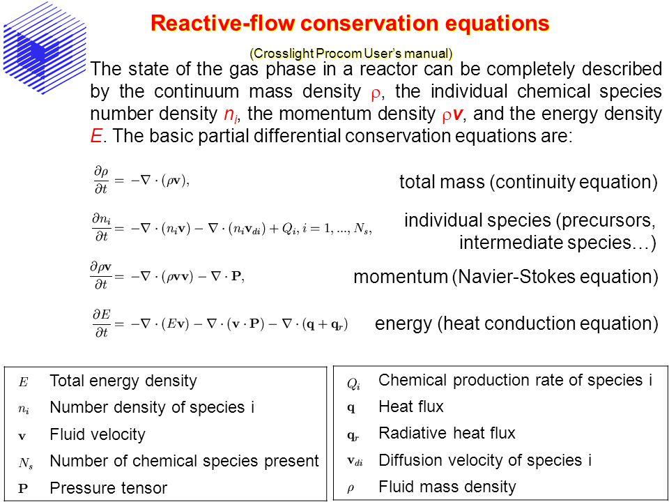 Reactive-flow conservation equations (Crosslight Procom User's manual)