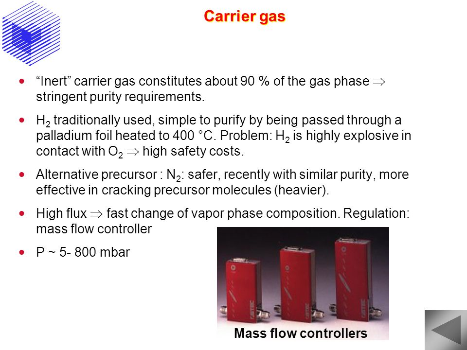 Carrier gas Inert carrier gas constitutes about 90 % of the gas phase  stringent purity requirements.