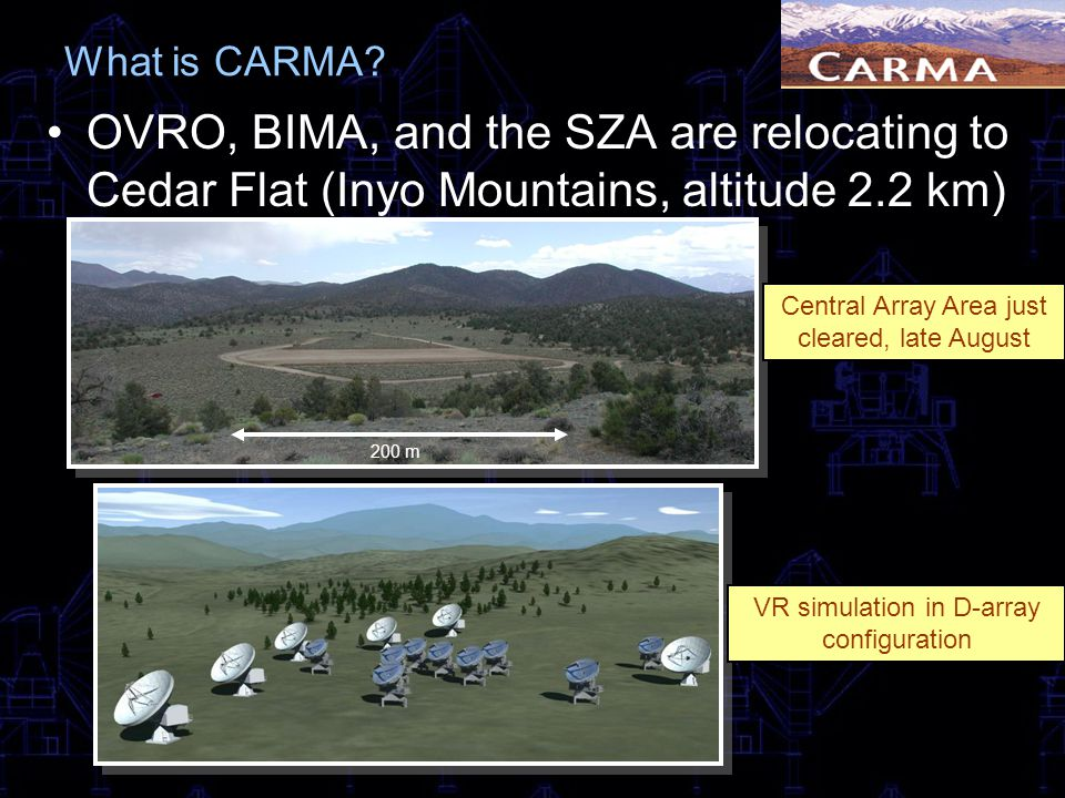 What is CARMA OVRO, BIMA, and the SZA are relocating to Cedar Flat (Inyo Mountains, altitude 2.2 km)