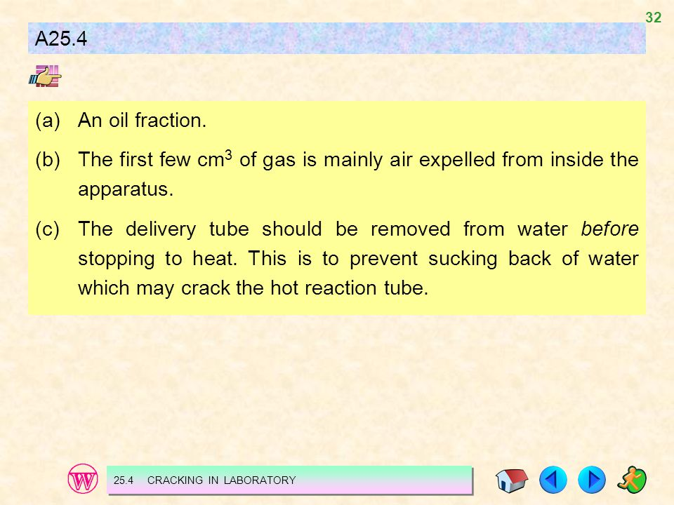 A25.4 (a) An oil fraction. (b) The first few cm3 of gas is mainly air expelled from inside the apparatus.