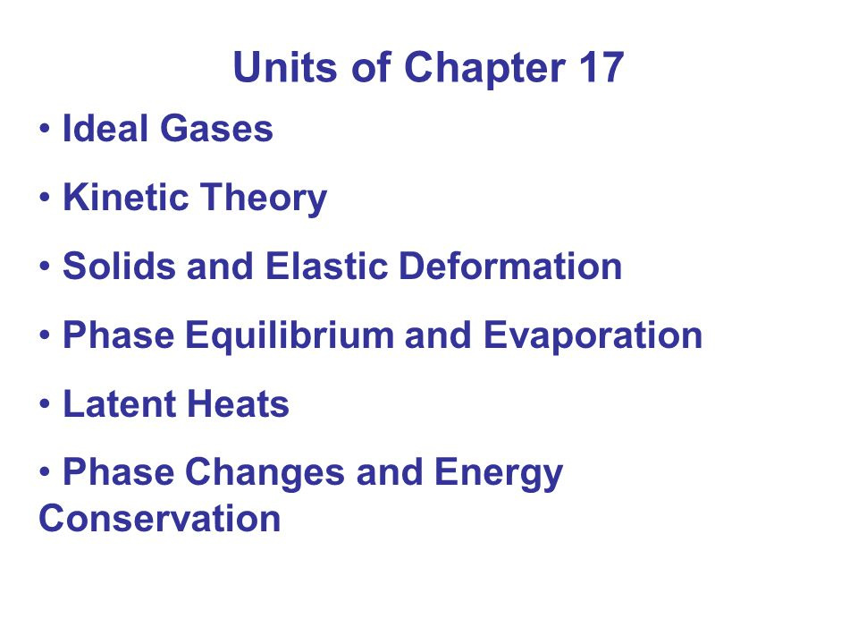 Units of Chapter 17 Ideal Gases Kinetic Theory