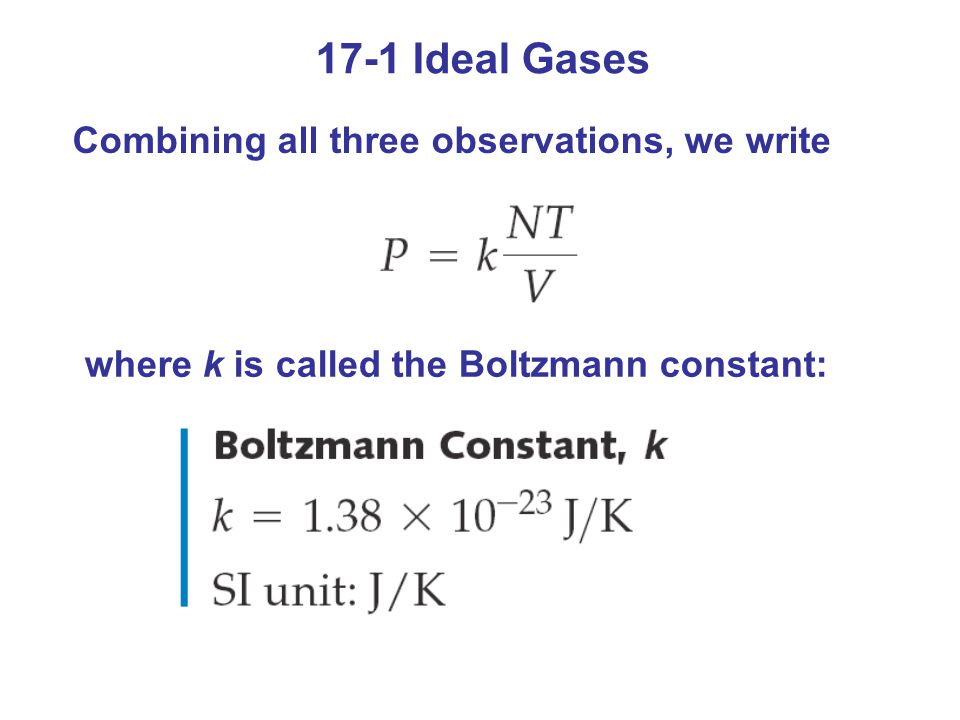 17-1 Ideal Gases Combining all three observations, we write