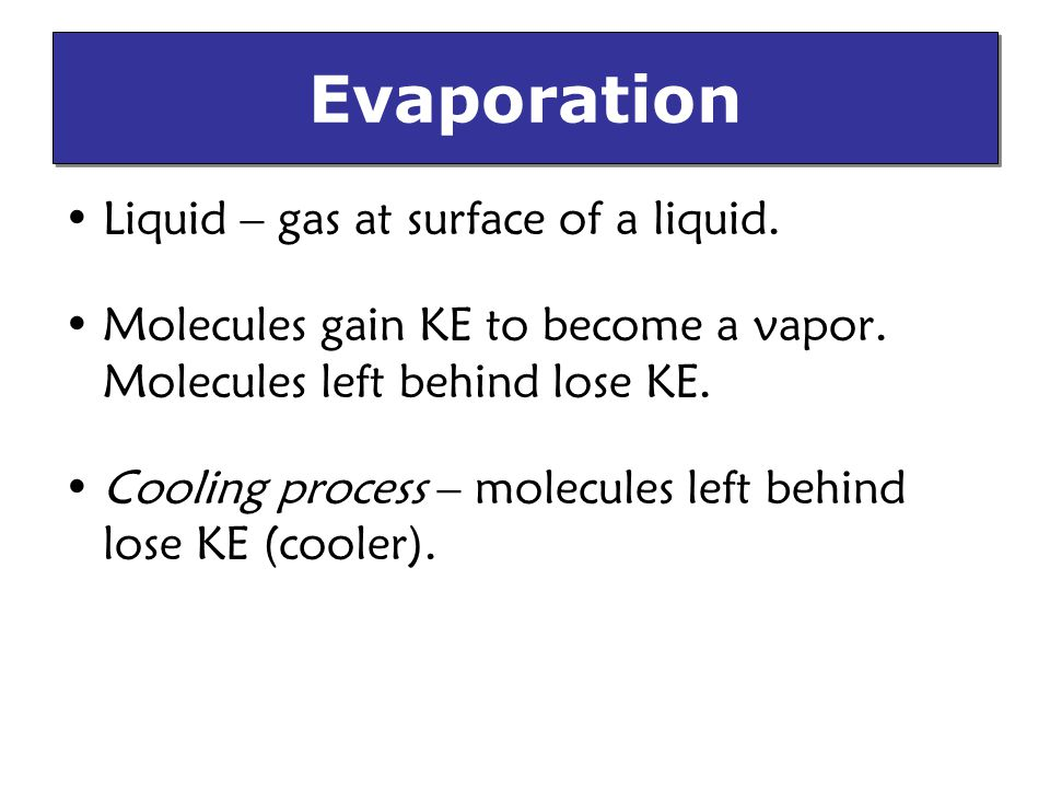 Evaporation Liquid – gas at surface of a liquid.