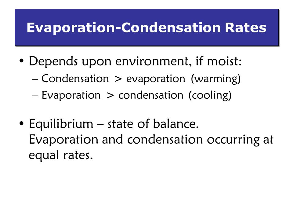 Evaporation-Condensation Rates