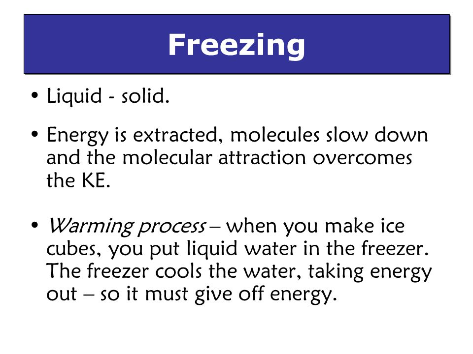 Freezing Liquid - solid.
