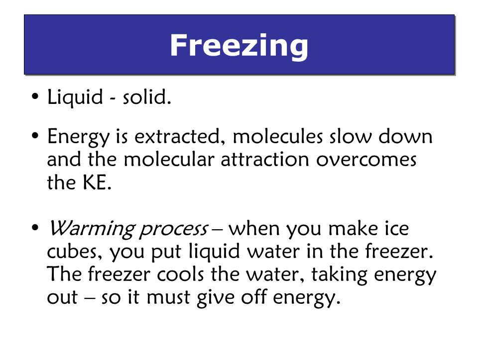Freezing Liquid - solid.