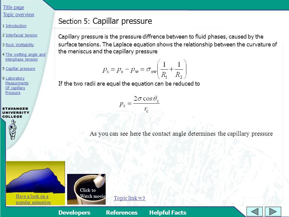 Section 5: Capillar pressure