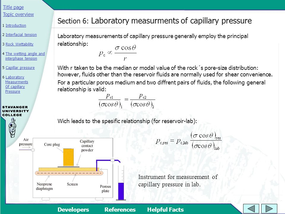 Section 6: Laboratory measurments of capillary pressure