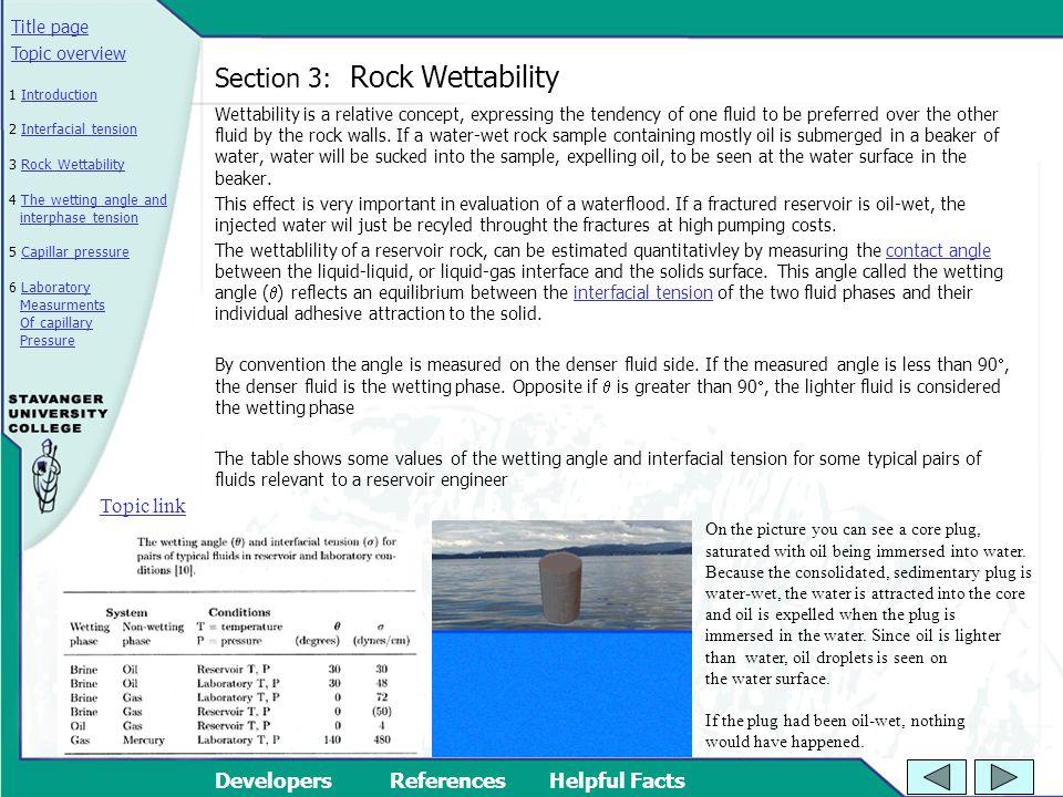 Section 3: Rock Wettability