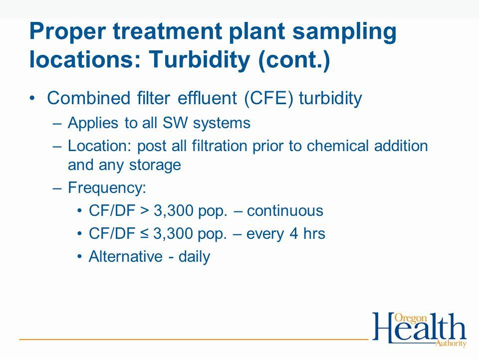 Proper treatment plant sampling locations: Turbidity (cont.)
